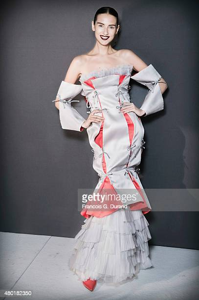 A model poses backstage prior to Lan Yu show as part of Paris Fashion Week HauteCouture Fall/Winter 2015/2016 on July 9 2015 in Paris France