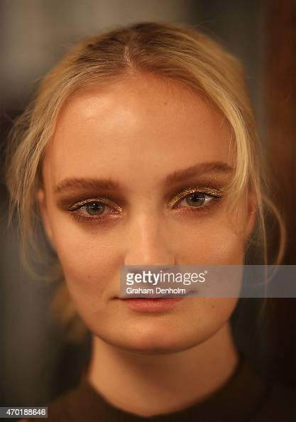 A model poses backstage prior to the Best of #MBFWA show at MercedesBenz Fashion Week Australia Weekend Edition at Carriageworks on April 18 2015 in...