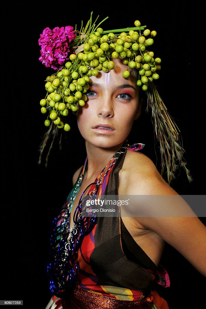 A model poses backstage prior to the Easton Pearson show on the third day of Rosemount Australian Fashion Week Spring/Summer 2008/09 Collections at...