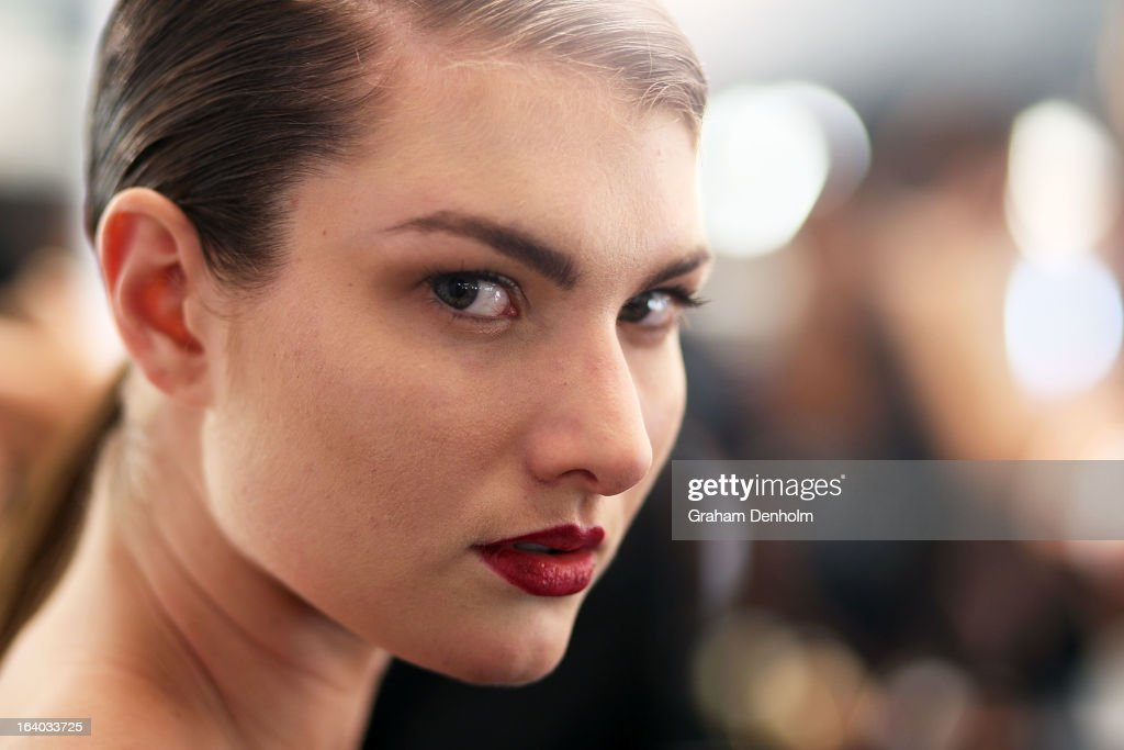 A model poses backstage prior to the L'Oreal Melbourne Fashion Festival Opening Event presented by David Jones at Docklands on March 19, 2013 in Melbourne, Australia.