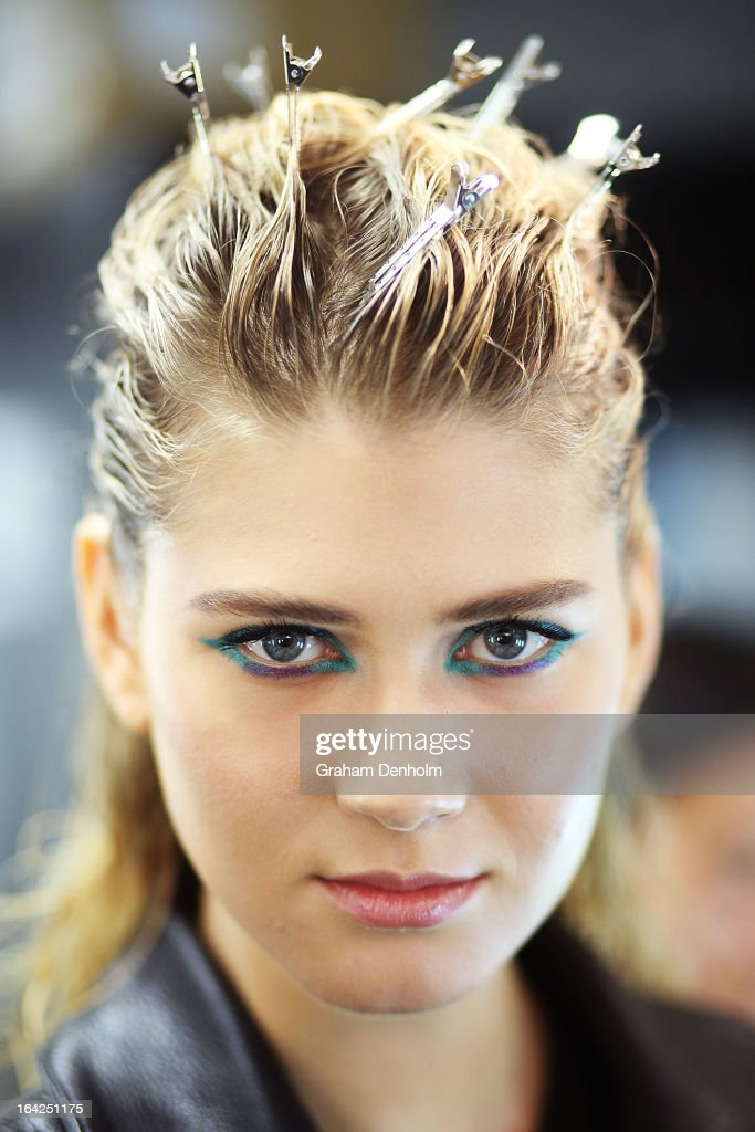 A model poses backstage prior to the L'Oreal Paris Runway 3 show during day four of L'Oreal Melbourne Fashion Festival on March 21, 2013 in Melbourne, Australia.