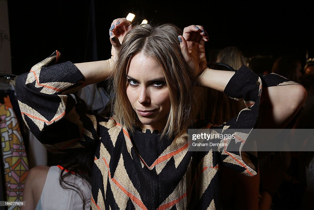 A model poses backstage prior to the L'Oreal Paris Runway 5 show during day five of L'Oreal Melbourne Fashion Festival on March 22, 2013 in Melbourne, Australia.