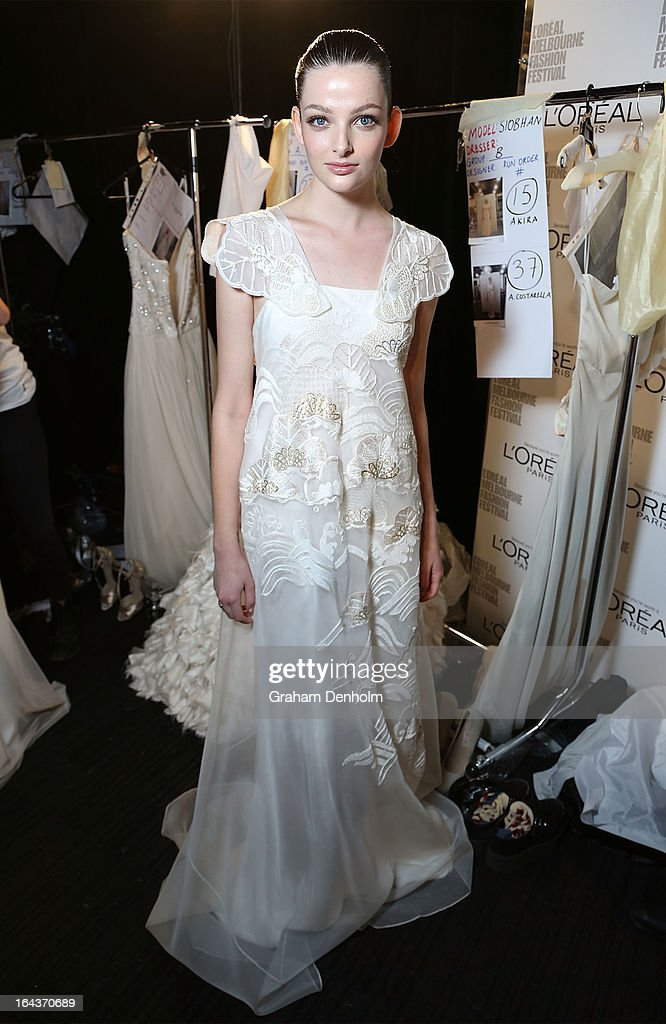 A model poses backstage prior to the Red Carpet Runway show during day six of L'Oreal Melbourne Fashion Festival on March 23, 2013 in Melbourne, Australia.