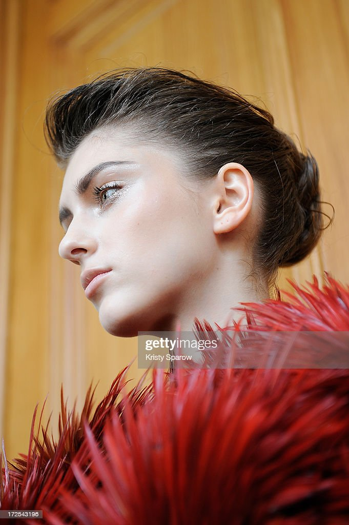 A model poses backstage prior to the Serkan Cura Couture show as part of Paris Fashion Week Haute-Couture Fall/Winter 2013-2014 at Mairie du 4e on July 3, 2013 in Paris, France.