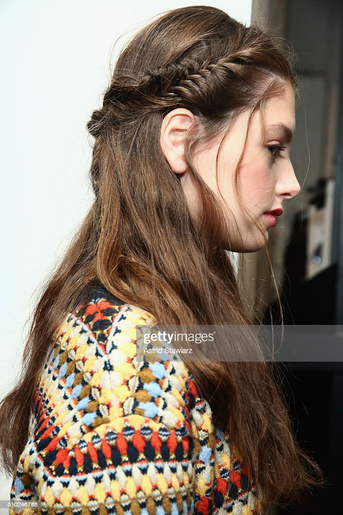 A model poses backstage with hair by TRESemme at the Rachel Zoe A/W16 Presentation during New York Fashion Week: The Shows at The Space, Skylight at Clarkson Sq on February 14, 2016 in New York City.