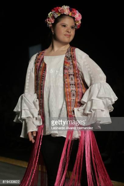 A model poses during Guatemalan fashion designer Isabella Springmühl show as part of IM Intermoda 2017 at Expo Guadalajara on July 19 2017 in...