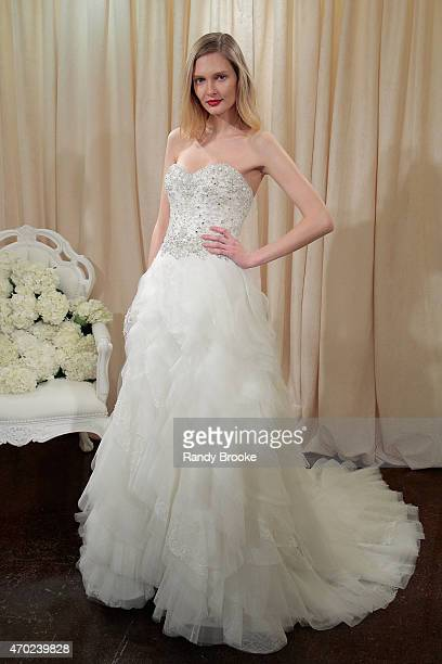 A model poses during the Badgley Mischka Bridal Spring/Summer 2016 presentation at Badgley Mischka Showroom on April 18 2015 in New York City