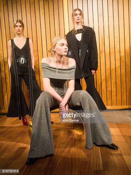 A model poses during the Beaufille Fall/Winter 2016 Presentation during New York Fashion Week at The Standard hotel on February 16 2016 in New York...