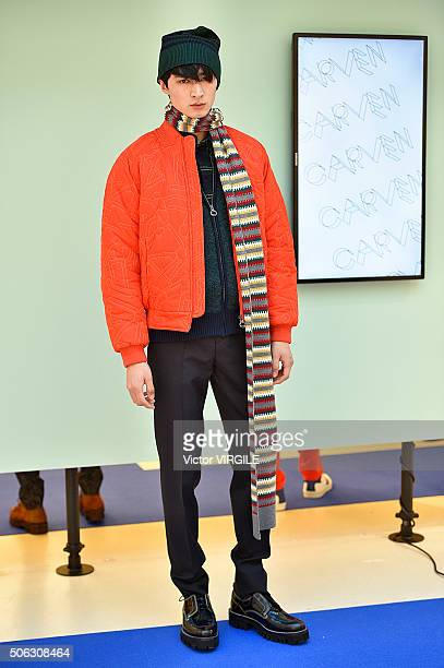 A model poses during the Carven Menswear F/W 20152016 Presentation as part of Paris Fashion Week on January 20 2016 in Paris France