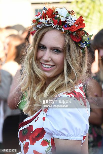 A model poses during the 'Claudia Effenberg's Dirndl Launch Party' on June 24 2015 in Munich Germany