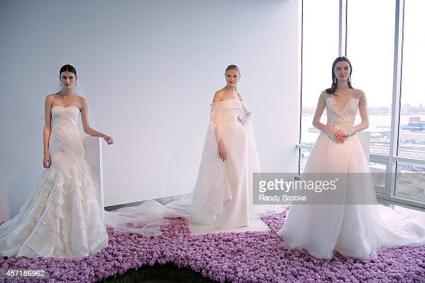 A model poses during the Fall 2015 Bridal CollectionPamela RowlandPresentation at The Glasshouses on October 13 2014 in New York City