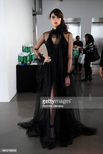 A model poses during the Galia Lahav Spring 2015 Bridal collection presentation at the Glass Houses on April 11 2014 in New York City