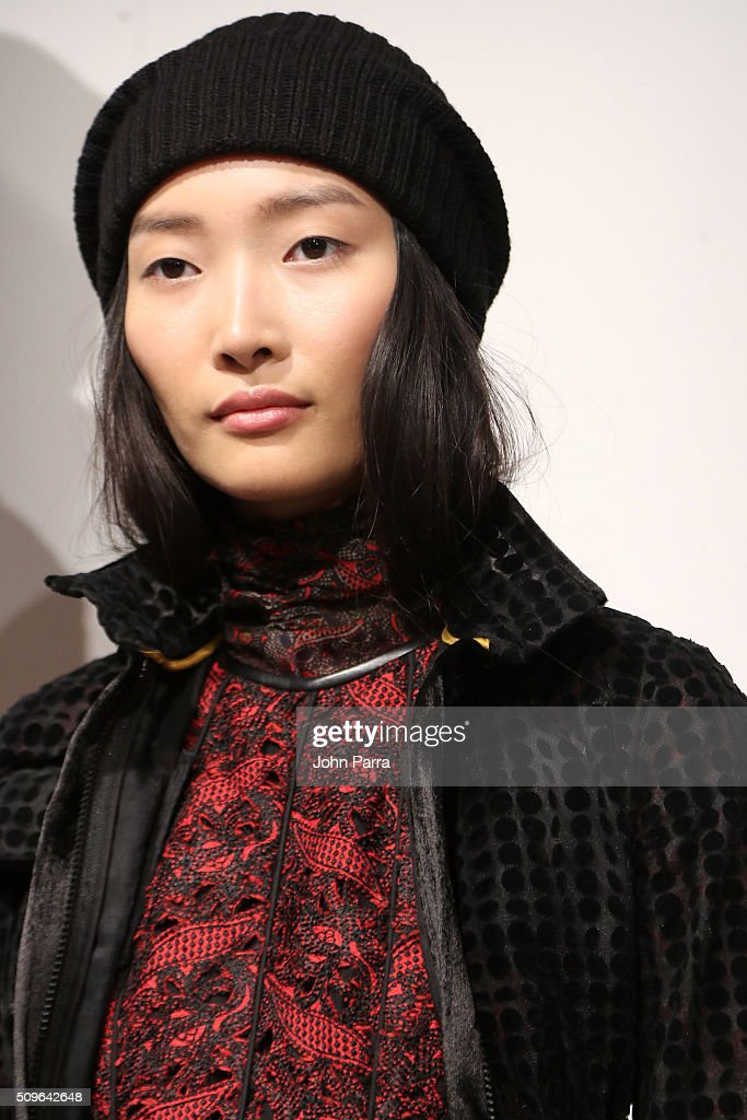 A model poses during the Hanley - Presentation at The Space, Skylight at Clarkson Sq on February 11, 2016 in New York City.