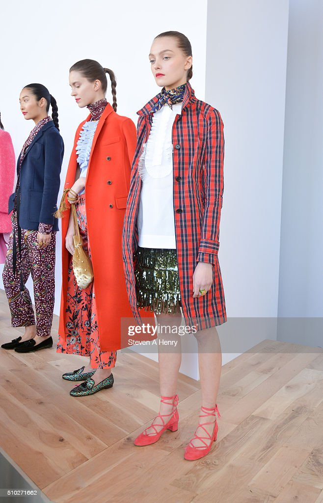 A model poses during the J. Crew Presentation Fall 2016 at Spring Studios on February 14, 2016 in New York City.