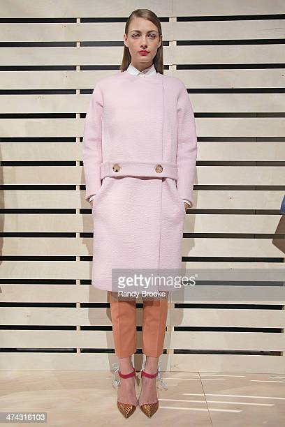 A model poses during the JCrew presentation during MercedesBenz Fashion Week Fall 2014 at The Pavilion at Lincoln Center on February 11 2014 in New...