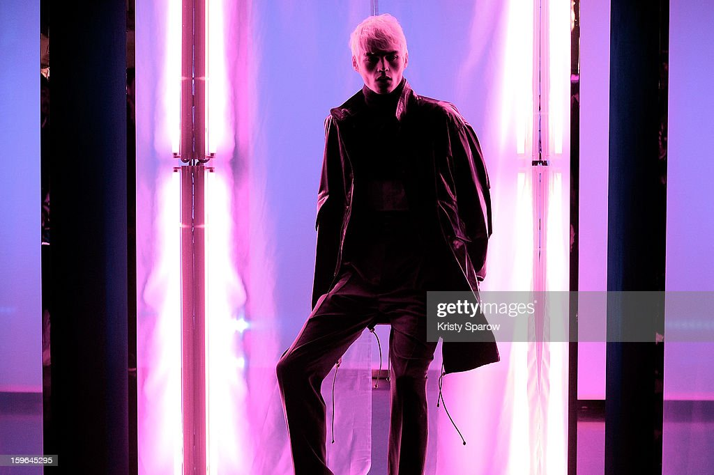 A model poses during the Jean Paul Gaultier Menswear Autumn / Winter 2013/14 show as part of Paris Fashion Week on January 17, 2013 in Paris, France.