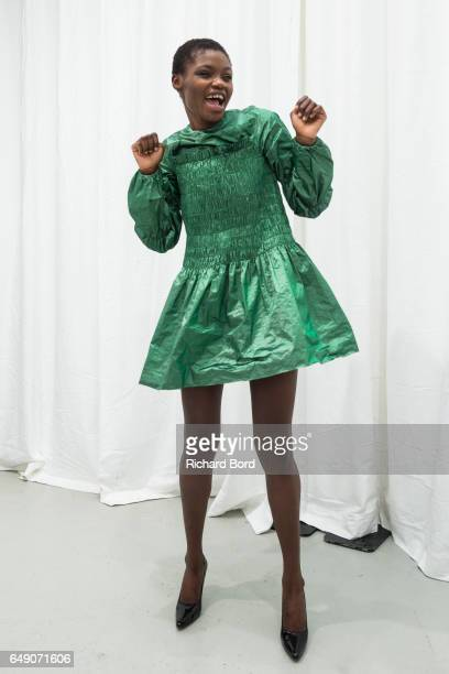 A model poses during the Jourden presentation at Palais de Tokyo during Paris Fashion Week Womenswear Fall/Winter 2017/2018 on March 7 2017 in Paris...