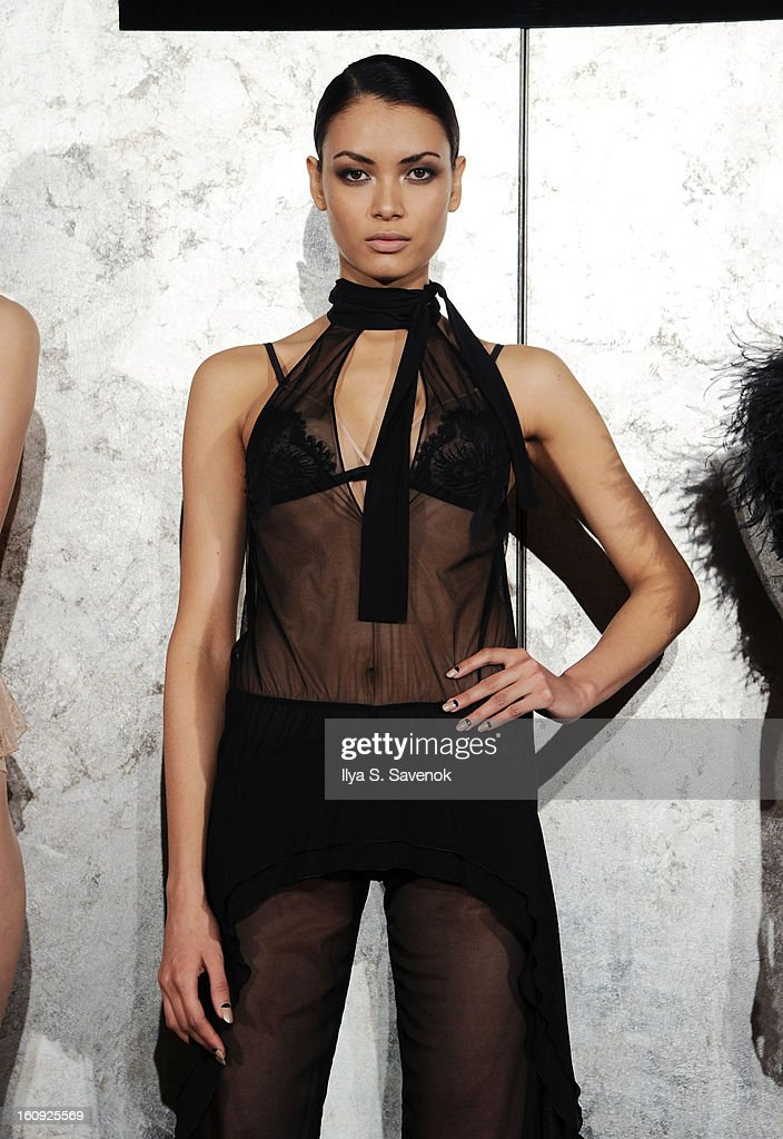 A model poses during the La Perla fall 2013 presentation during Mercedes-Benz Fashion Week at The Gallery at The Dream Downtown Hotel on February 7, 2013 in New York City.