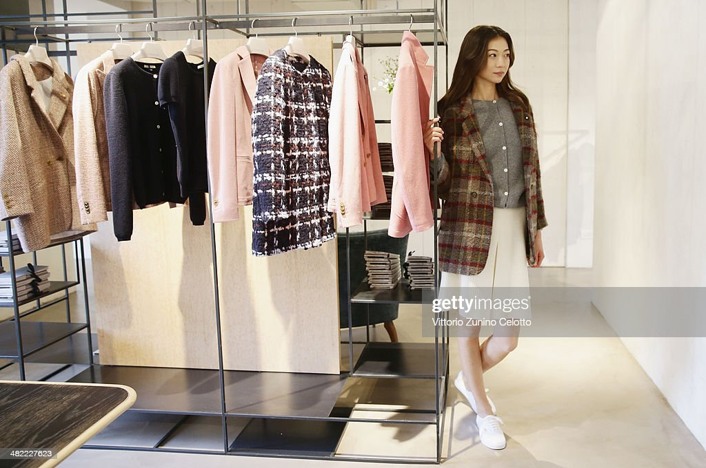 A model poses during the Lardini Boutique Opening on April 3, 2014 in Milan, Italy.