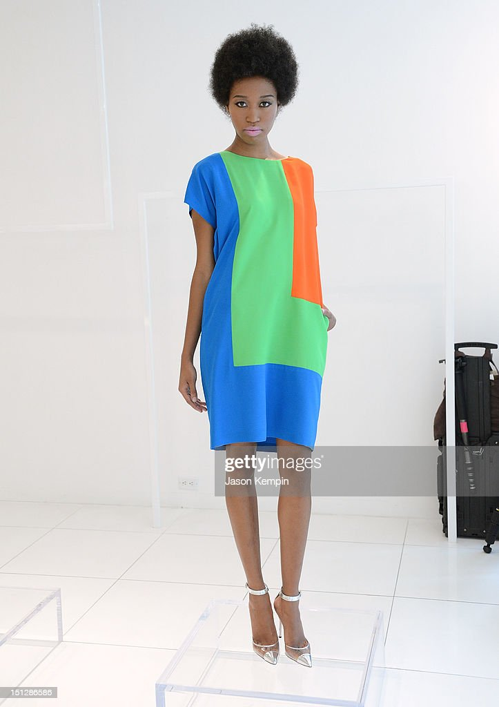 A model poses during the Lisa Perry spring 2013 presentation during Mercedes-Benz Fashion Week on September 5, 2012 in New York City.