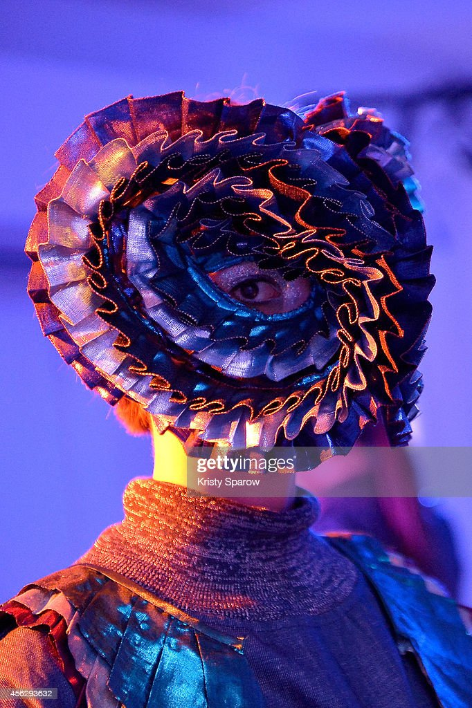 A model poses during the Little Shilpa Presentation as part of Paris Fashion Week Womenswear Spring/Summer 2015 on September 28, 2014 in Paris, France.