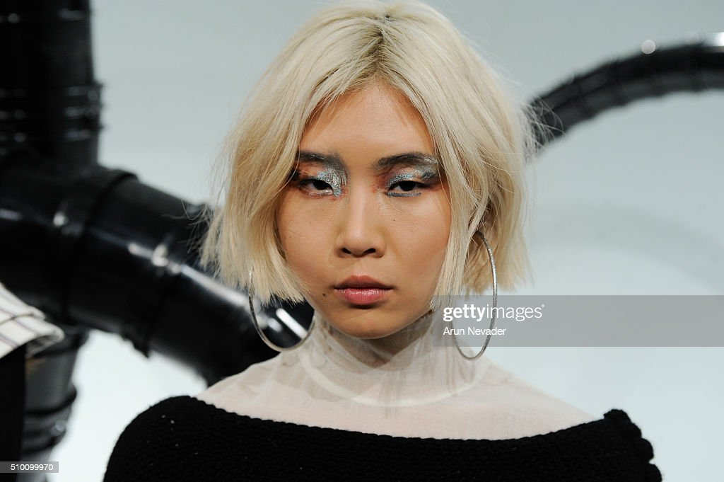 A model poses during the Michelle Helene Presentation at Pier 59 on February 13, 2016 in New York City.