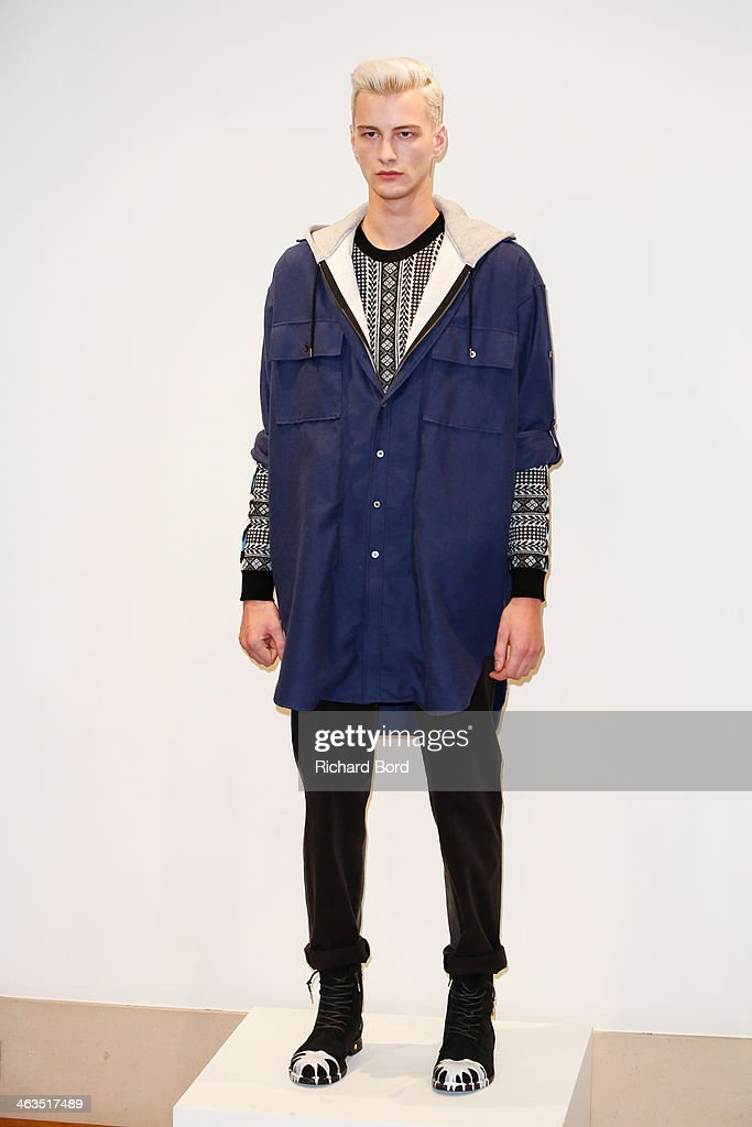 A model poses during the Miharayasuhiro Menswear Fall/Winter 2014-2015 show as part of Paris Fashion Week on January 18, 2014 in Paris, France.