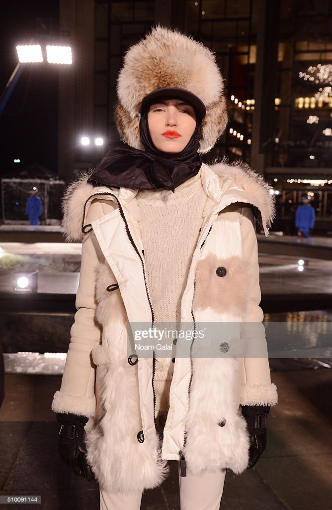 A model poses during the Moncler Grenoble FW 16-17 presentation during New York Fashion Week at Lincoln Center on February 13, 2016 in New York City.