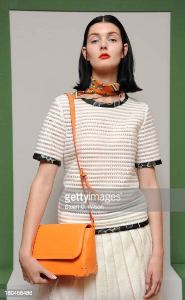 A model poses during the Ostwald Helgason presentation at London Fashion Week SS14 on September 13 2013 in London England