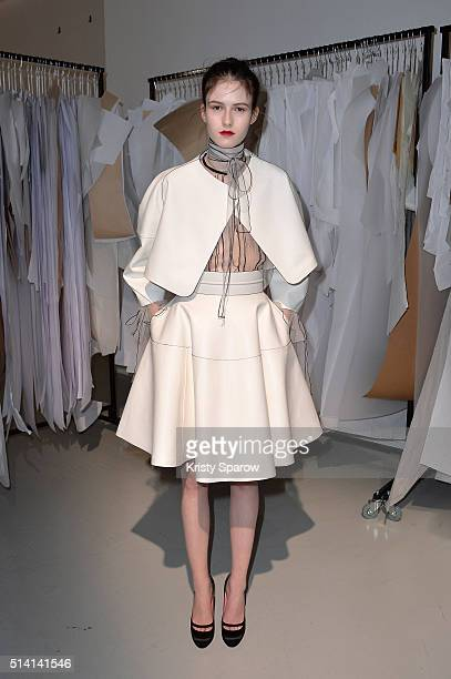 A model poses during the Paule Ka Presentation as part of Paris Fashion Week Womenswear Fall/Winter 2016/2017 on March 7 2016 in Paris France
