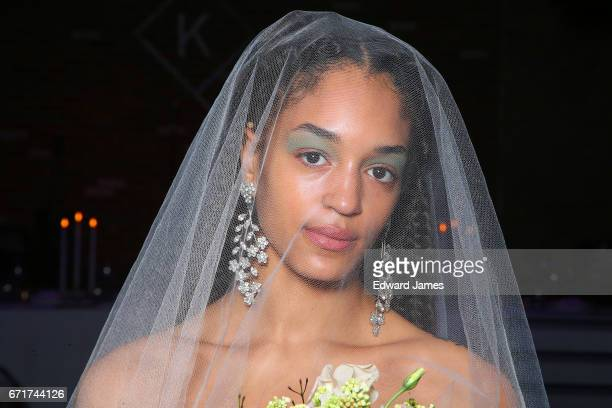 A model poses during the Reformation Wedding Spring/Summer 2018 bridal fashion show on April 19 2017 in New York City