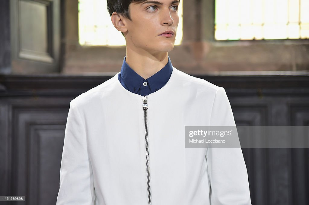 A model poses during the Timo Weiland Men's Presentation at Mercedes-Benz Fashion Week Spring 2015 at The Highline Hotel on September 3, 2014 in New York City.