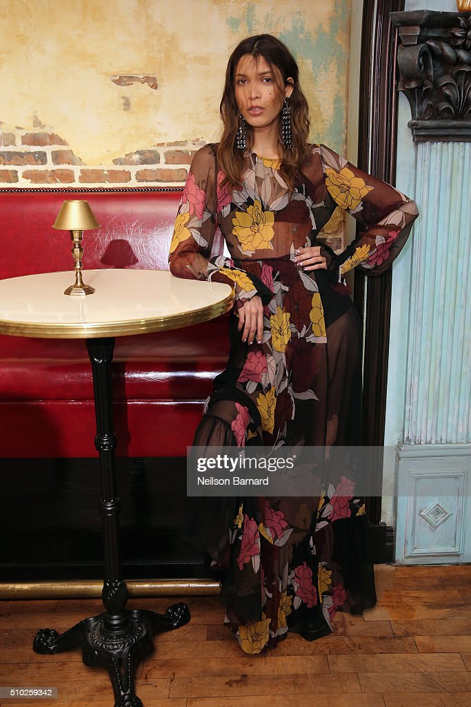 A model poses during the Tracy Reese runway at Roxy Hotel on February 14, 2016 in New York City.