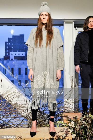 A model poses during the Ulla Johnson Presentation at The New Museum on February 12 2015 in New York City