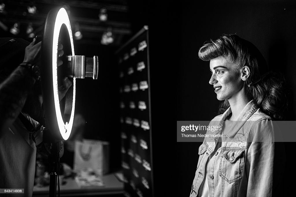 A model poses for a Getty photographer backstage prior the Thomas Hanisch show during the Mercedes-Benz Fashion Week Berlin Spring/Summer 2017 at Erika Hess Eisstadion on June 28, 2016 in Berlin, Germany.
