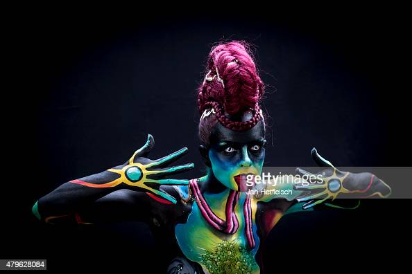 model poses for a picture during the World Bodypainting Festival