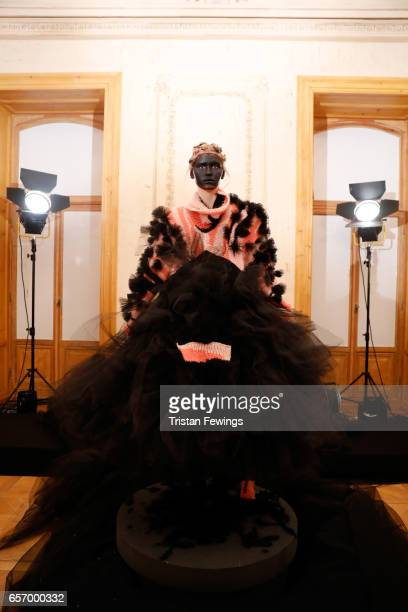 A model poses for a presentation at the Bashaques show during MercedesBenz Istanbul Fashion Week March 2017 at Grand Pera on March 23 2017 in...