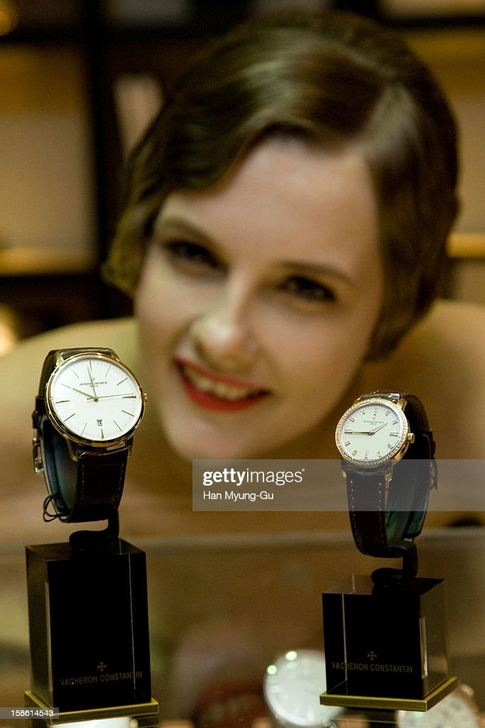 Model poses for media during the Malte tourbillon 100th anniversary celebration of luxury watch brand Vacheron Constantin at Hyundai Department Store on December 21, 2012 in Seoul, South Korea.
