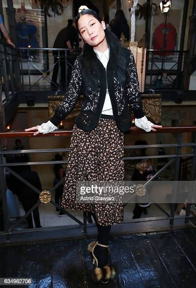 A model poses for photos during the Tracy Reese presentation held at 632 Hudson during New York Fashion Week on February 12 2017 in New York City