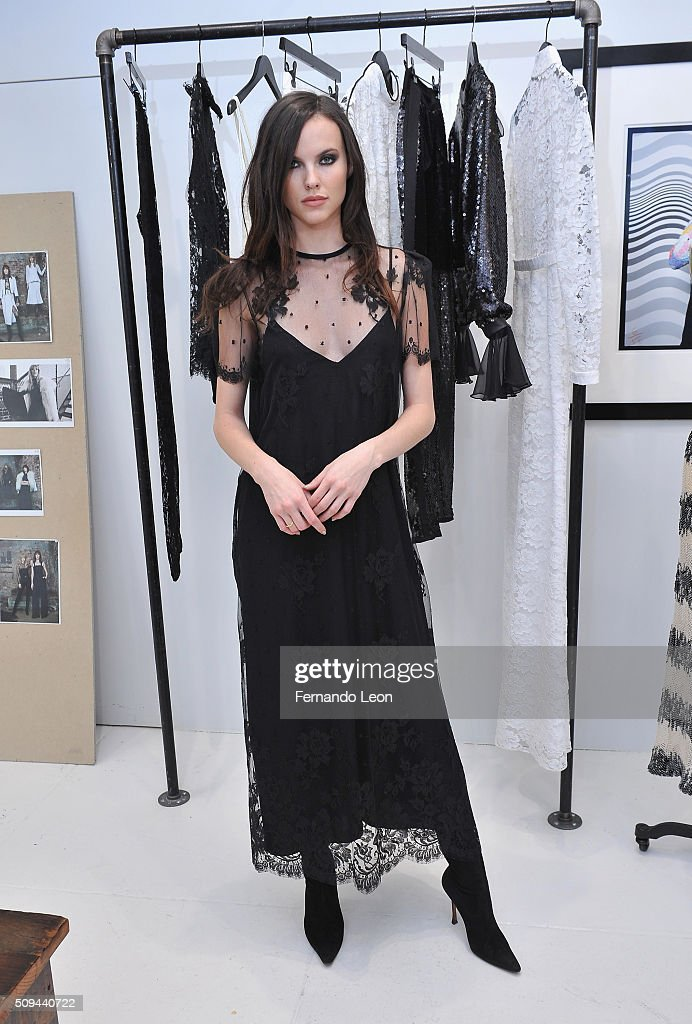 A model poses for pictures during the Houghton presentation at the Houghton Atelier during Fall 2016 New York Fashion Week on February 10, 2016 in New York City.