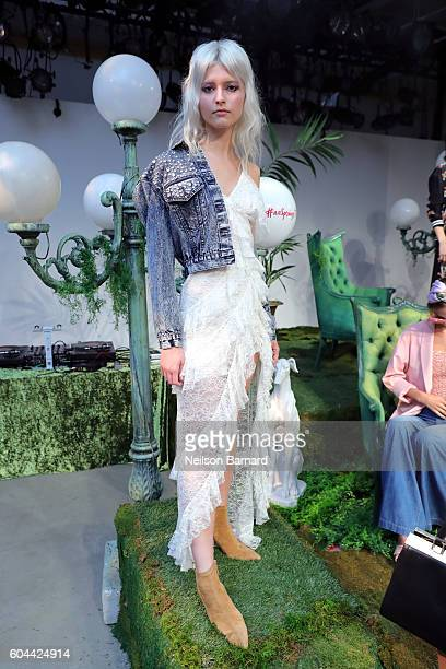 A model poses for the Alice Olivia By Stacey Bendet fashion show during New York Fashion Week September 2016 at The Gallery Skylight at Clarkson Sq...