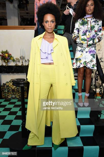 A model poses for the Alice Olivia By Stacey Bendet Presentation during September 2017 New York Fashion Week The Shows at Gallery 2 Skylight Clarkson...