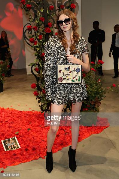 A model poses for the Alice Olivia by Stacey Bendet Spring/Summer 2017 Presentation during New York Fashion Week September 2016 at Skylight at...