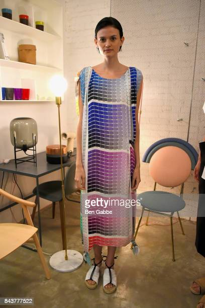 A model poses for the Haus Alkire Presentation during New York Fashion Week at 57 Walker on September 7 2017 in New York City