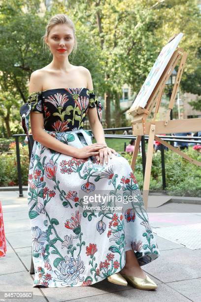 A model poses for the Lela Rose Presentation during New York Fashion Week at Washington Square Park on September 11 2017 in New York City