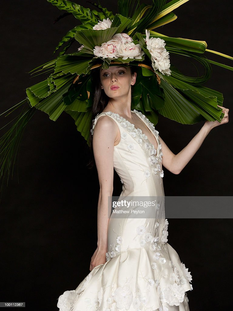 A model poses for the studio photo session at the 9th Annual 'Tulips & Pansies: A Headdress Affair' at Gotham Hall on May 20, 2010 in New York City.