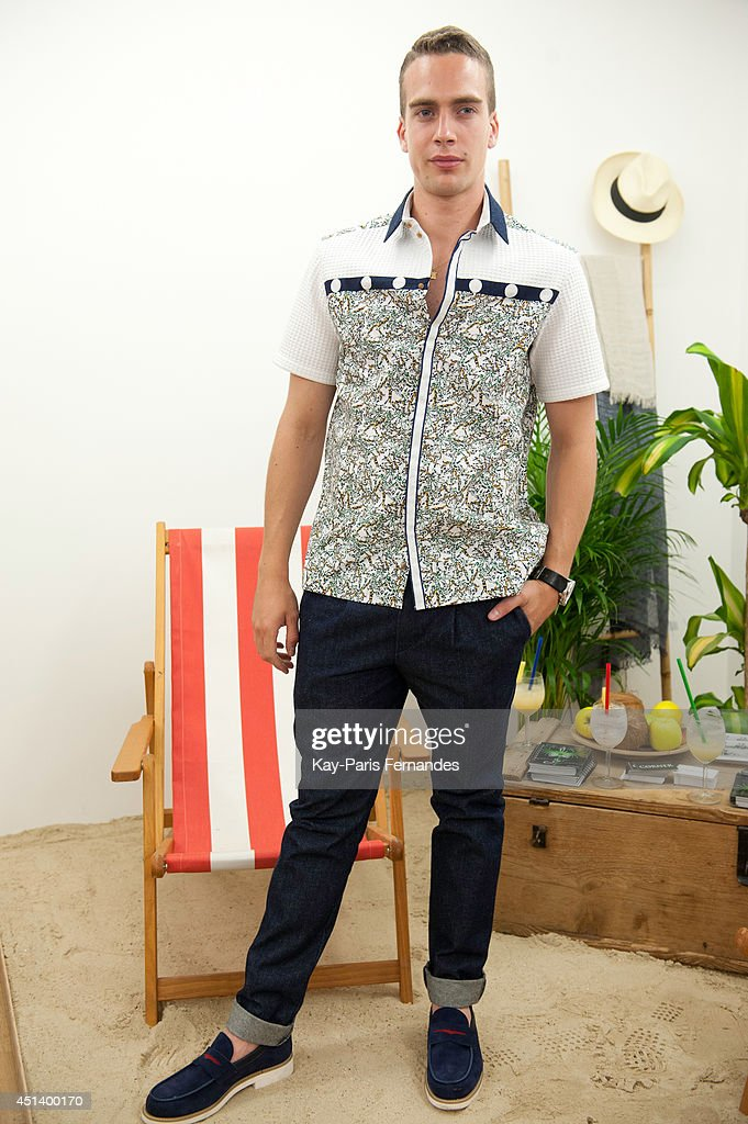 A model poses in clothing by Lorenz Bach during the Corner Presentation as part of the Paris Fashion Week Menswear Spring/Summer 2015 on June 28, 2014 in Paris, France.
