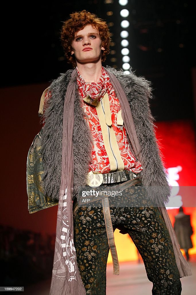 A model poses on the catwalk during the show of The People of the Labyrinths at the opening of the 18th Amsterdam Fashion Week in Amsterdam, The Netherlands, on January 23, 2013. The Fashion Week runs until January 27. netherlands out