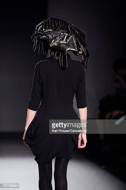 A model poses on the runway at the Berube show as part of London Fashion Week at the BFC Tent on February 12 2008 in London England