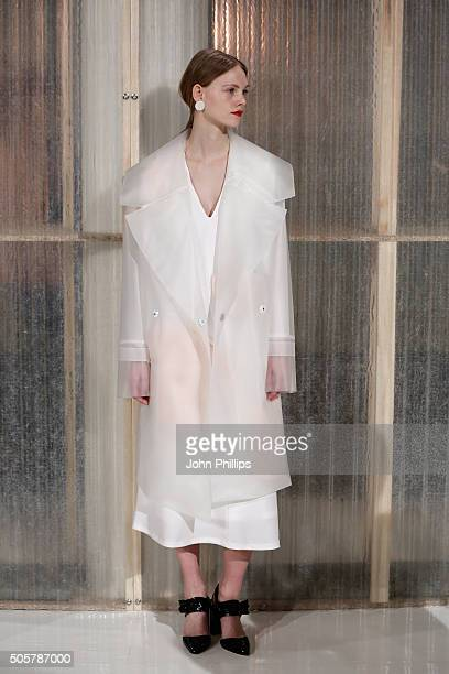 A model poses on the runway at the Malaikaraiss show during the MercedesBenz Fashion Week Berlin Autumn/Winter 2016 at Stage at me Collectors Room on...